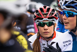 Clara Koppenburg waits patiently for the start - Pajot Hills Classic 2016, a 122km road race starting and finishing in Gooik, on March 30th, 2016 in Vlaams Brabant, Belgium.