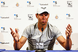 April 23, 2018 - Barcelona, Spain - RAFAEL NADAL of Spain, who drew a first round bye,  during the Barcelona Open Banc Sabadell 66º Trofeo Conde de Godo press conference at Reial Club Tenis Barcelona in Barcelona, Spain. (Credit Image: © Xavier Bonilla/NurPhoto via ZUMA Press)