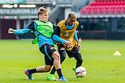 ALKMAAR - 15-02-2017, AZ - Olympique Lyon, AFAS Stadion, training, AZ speler Jonas Svensson, AZ speler Dabney dos Santos Souza