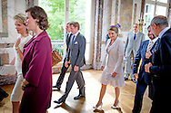 BRUSSELS, BELGIUM: (Back, from L to R) Lord Frederick Wellesley, Prince Pieter-Christiaan d'Orange-Nassau, Belgian Countess Stephanie de Lannoy, Prince Guillaume, hereditary Grand-Duke of Luxembourg, Grafin Blucher von Wahlstatt, Lukas Graf Blucher von Wahlstatt (Front, from L to R) Prince Jean-Christophe Napoleon, Prince Nikolaus Furst Blucher von Wahlstatt, Queen Mathilde of Belgium, King Philippe - Filip of Belgium, Arthur Gerald Wellesley, Earl of Mornington and Jemma Wellesley, Marchioness of Douro pose for a family portrait at a reception given by Belgian royal couple with Luxembourg hereditary Grand-Duke and descendants of the main war leaders of Waterloo battle, Wednesday 17 June 2015, at the Royal Castle in Laken-Laeken, Brussels. COPYRIGHT ROBIN UTRECHT