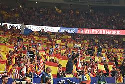 October 14, 2017 - Madrid, Spain - Atletico de Madrid fans holding the Spanish and the Club's flag prior to start the La Liga match between Club Atletico Madrid and FC Barcelona at Estadio Wanda Metropolitano on October 14, 2017 in Madrid, Spain. (Credit Image: © Isa Saiz/NurPhoto via ZUMA Press)