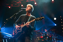 © Licensed to London News Pictures. 12/11/2013. London, UK.   Kodaline performing live at The Forum. In this picture - Steve Garrigan (left), Vinny May (right).  Kodaline are a Dublin-based Irish rock band composed of members Steve Garrigan (Vocals, rhythm guitar, harmonica, keyboards), Mark Prendergast (Lead guitar, vocals, keyboards), Vinny May (Drums, percussion, vocals), and Jason Boland (Bass guitar, vocals). Photo credit : Richard Isaac/LNP