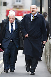 © Licensed to London News Pictures. 23/01/2012. London, UK. L to R  Lord Patten, BBC Trust chairman and Mark Thompson, director general of the BBC arriving at the Royal Courts of Justice on January 23rd, 2012, to give evidence at the Leveson Inquiry in to press standards. Photo credit : Ben Cawthra/LNP