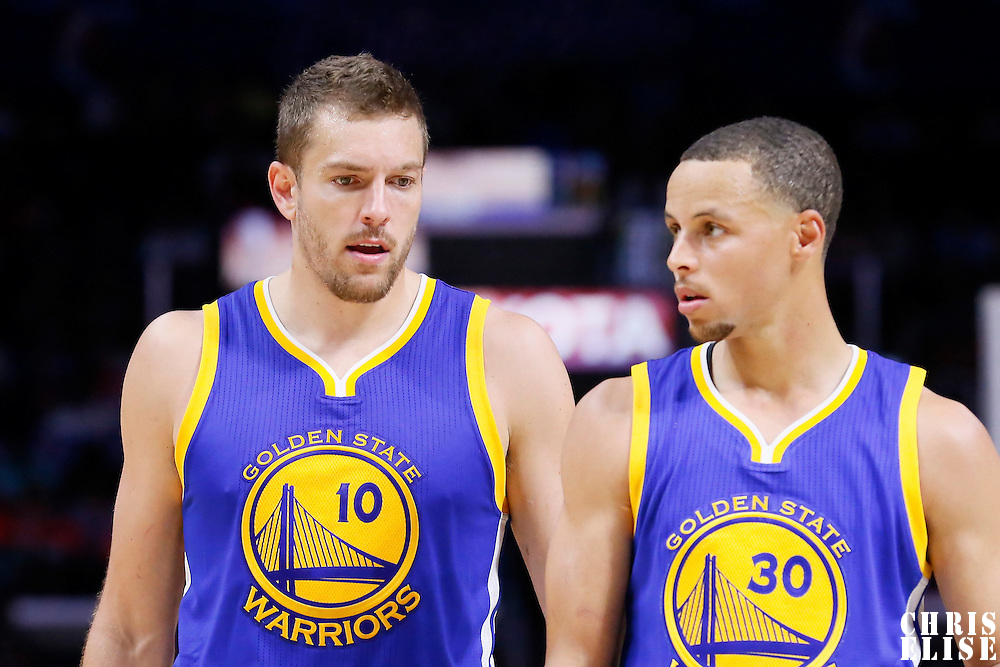 07 October 2014: Golden State Warriors David Lee (10) is seen next to Golden State Warriors guard Stephen Curry (30) during the Golden State Warriors 112-94 victory over the Los Angeles Clipper, in preseason opener, at the Staples Center, Los Angeles, California, USA.