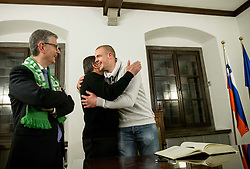 Franjo Bobinac, Zoran Jankovic, Mayor of Ljubljana and Matej Gaber after he signed the City of Ljubljana's Golden Book during reception of Slovenian National Handball Men team after they placed third at IHF World Handball Championship France 2017, on January 30, 2017 in City hall, Ljubljana centre, Slovenia. Photo by Vid Ponikvar / Sportida