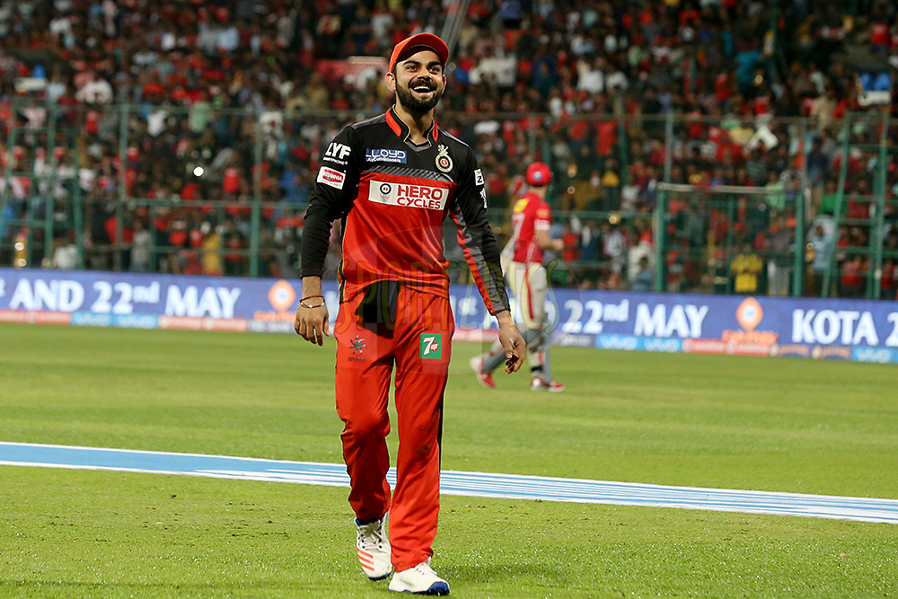 Royal Challengers Bangalore skipper Virat Kohli  during match 50 of the Vivo IPL ( Indian Premier League ) 2016 between the Royal Challengers Bangalore and the Kings XI Punjab held at The M. Chinnaswamy Stadium in Bangalore, India,  on the 18th May 2016<br /> <br /> Photo by Faheem Hussain / IPL/ SPORTZPICS