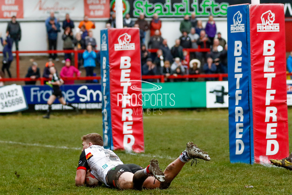 Bradford Bulls winger Ethan Ryan (2) scores the final try of the game during the Betfred League 1 match between Keighley Cougars and Bradford Bulls at Cougar Park, Keighley, United Kingdom on 11 March 2018. Picture by Simon Davies.