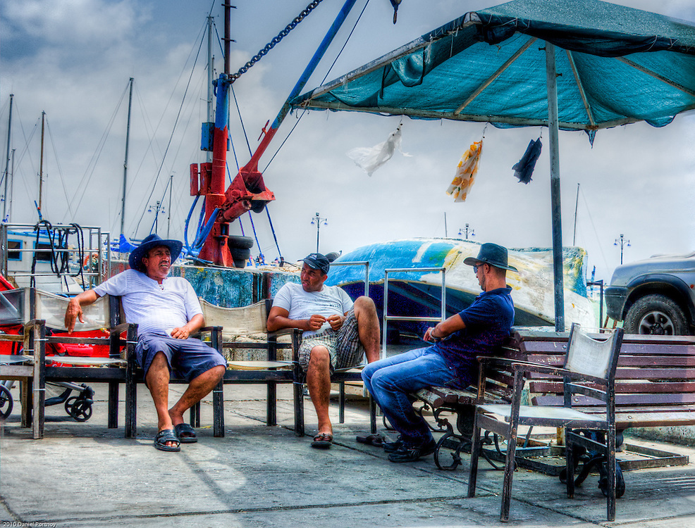 Skippers waiting for customers at Acre harbour