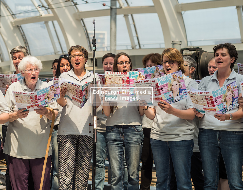 The MGLC Choir perform at a tribute event in memory of Victoria Wood. Held at Manchester Victoria Station, the station was renamed Victoria Wood Station for the duration of the event.<br /> <br /> (c) John Baguley | Edinburgh Elite media
