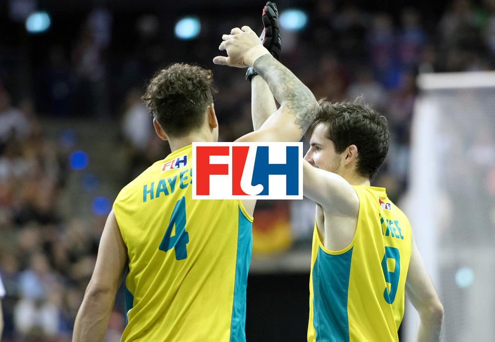 BERLIN - Indoor Hockey World Cup<br /> SF2 Australia - Austria<br /> foto: Jack Hayes and James Knee <br /> WORLDSPORTPICS COPYRIGHT FRANK UIJLENBROEK