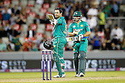 Sharjeel Khan celebrates his fifty during the International T20 match between England and Pakistan at the Emirates, Old Trafford, Manchester, United Kingdom on 7 September 2016. Photo by Craig Galloway.