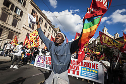 October 22, 2016 - Rome, Italy - Thousands of people shout slogans and wave flags as they take to the streets to protest Prime Minister Matteo Renzi's government politics and to say 'NO' at the upcoming constitutional referendum in Rome, Italy, on 22 October 2016. (Credit Image: © Giuseppe Ciccia/NurPhoto via ZUMA Press)