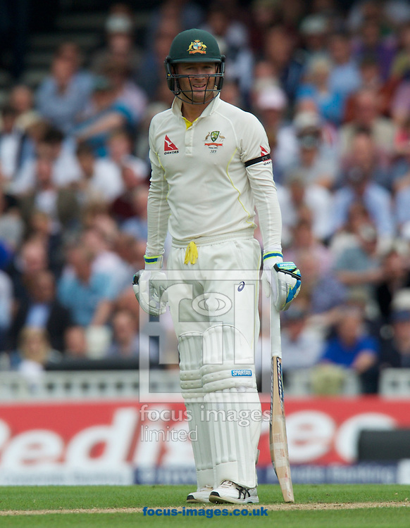 Captain Michael Clarke of Australia batting during the 5th Investec Ashes Test Match match at the Kia Oval, London<br /> Picture by Alan Stanford/Focus Images Ltd +44 7915 056117<br /> 20/08/2015