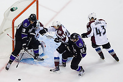 Matt Hunwick (Colorado Avalanche, #48) vs Kevin Westgarth (Los Angeles Kings, #19) in front of net of Brian Elliott (Colorado Avalanche, #30) during ice-hockey match between Los Angeles Kings and Colorado Avalanche in NHL league, February 26, 2011 at Staples Center, Los Angeles, USA. (Photo By Matic Klansek Velej / Sportida.com)