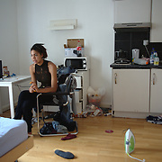 Aziza was given a room in the Hotel Dani when she was 17 years old. She turned 18 in the hostel.<br /> Aziza, July 2013.