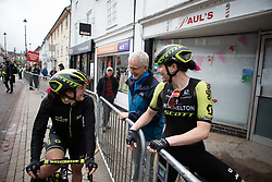 Mitchelton Scott Cycling Team riders chat to a spectator after Stage 1 of 2019 OVO Women's Tour, a 157.6 km road race from Beccles to Stowmarket, United Kingdom on June 10, 2019. Photo by Balint Hamvas/velofocus.com
