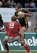 Wycombe, GREAT BRITAIN, Wasps, Raphael IBANEZ, jumps to  collect the pass to get past Matthew WATKINS, during the Heineken Cup game Wasps vs Llanelli Scarlets, at Adams Park Stadium, Bucks, 13.01.2008 [Photo, Peter Spurrier/Intersport-images]