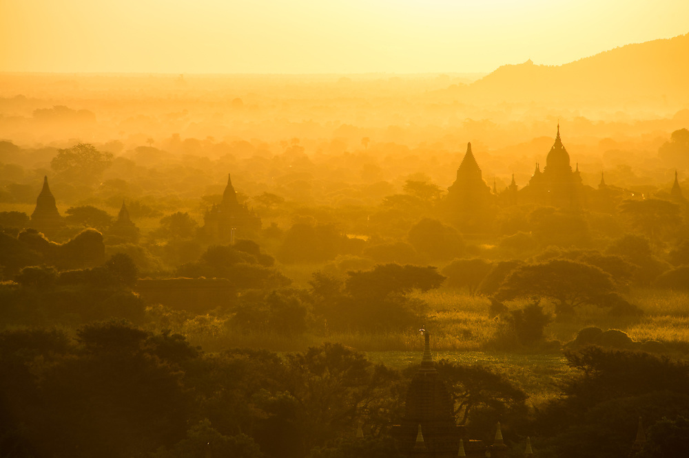 Sunrise over the famous temples and pagodas in Bagan in Myanmar