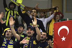 Fans of Fenerbahce  at Euroleague basketball game in Round 9 of Group C between KK Union Olimpija, Ljubljana and Fenerbahce Ulker, Istanbul, on January 8, 2009, in Arena Tivoli, Ljubljana, Slovenia. Fenerbahce won 90:70. (Photo by Vid Ponikvar / SportIda).