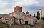 Church of St Mary, 13th century, in the Ardenica Monastery, an Eastern Orthodox monastery near Apollonia, Fier, Albania. The church is of Byzantine-orthodox architecture but with many Romanesque features, and contains frescoes by Kostandin and Athanas Zografi which date to 1744. The monastery was founded in 1282 by Andronikos II Palaiologos and is dedicated to the Byzantine victory over the Angevins in Berat during the Siege of Berat of 1280ñ81. Picture by Manuel Cohen