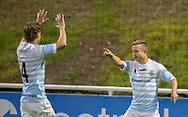 Jeppe Kjær (FC Helsingør) jubler med Thomas Kristensen efter scoringen til 2-0 under kampen i 2. Division mellem FC Helsingør og B.93 den 20. september 2019 på Helsingør Ny Stadion (Foto: Claus Birch).