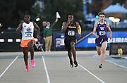 LaKyron Mays (975) of Oklahoma State, Nylo Clarke (733) of Missouri and Evan Mafilas (1641) of Washington run in a 400m heat during the NCAA West Track & Field Preliminary, Thursday, May23, 2019, in Sacramento, Calif.