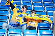 Mansfield Town fans with scarves before the EFL Sky Bet League 2 match between Chesterfield and Mansfield Town at the Proact stadium, Chesterfield, England on 14 April 2018. Picture by Nigel Cole.