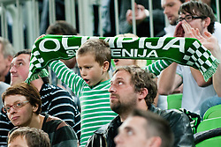 Young fan during basketball match between KK Union Olimpija and Asseco Prokom Gdynia (POL) of 3rd Round in Group D of Regular season of Euroleague 2011/2012 on November 2, 2011, in Arena Stozice, Ljubljana, Slovenia. (Photo by Matic Klansek Velej / Sportida)