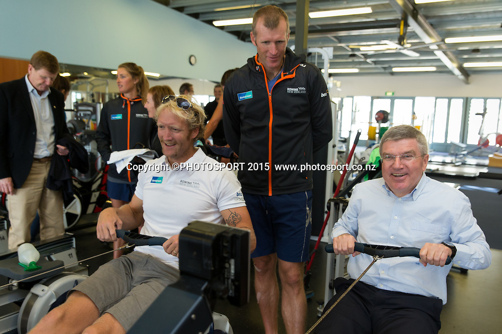 Eric Murray and Mahe Drysdale with IOC president Thomas Bach on an erg machine at the Rowing NZ Media Day, Lake Karapiro, Cambridge, New Zealand, Wednesday 6 May 2015. Photo: Stephen Barker/Photosport.co.nz