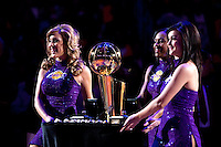 27 October 2009: The Laker Girls roll out the Larry O'Brien NBA championship trophy during the Los Angeles Lakers ring ceremony before the Lakers 99-92 victory over the LosAngeles Clippers at the STAPLES Center in Los Angeles, CA.