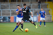 Portsmouth FC Midfielder Danny Hollands battles in the midfield during the Sky Bet League 2 match between Carlisle United and Portsmouth at Brunton Park, Carlisle, England on 21 November 2015. Photo by Craig McAllister.