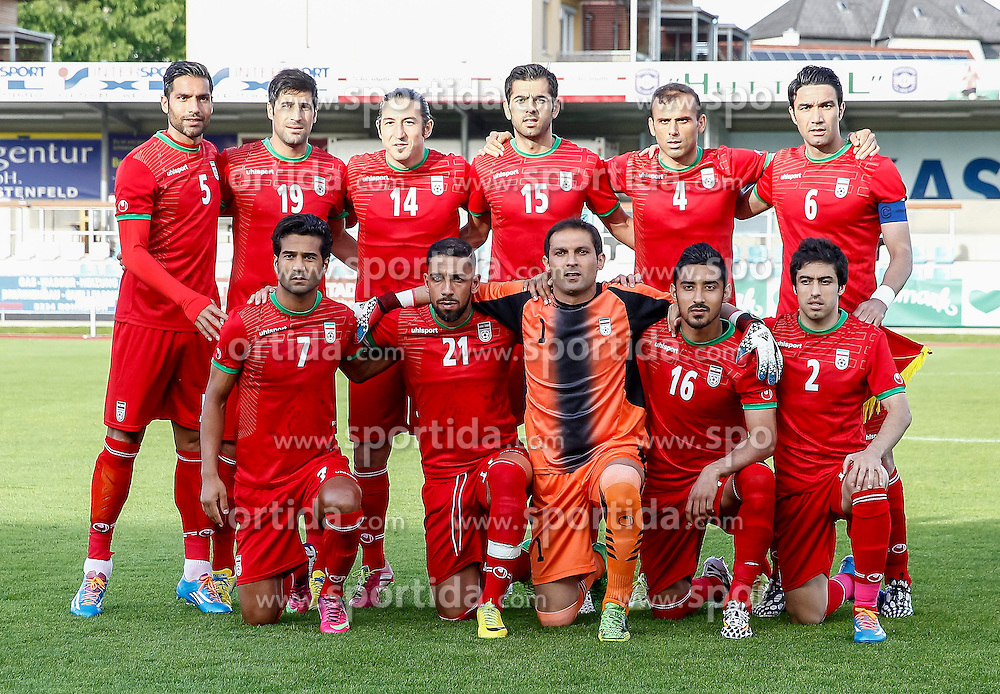 26.05.2014, Hartberg Stadion, Hartberg, AUT, FIFA WM, Testspiel, Iran vs Montenegro, im Bild erste Reihe von links: Masoud Shojaei (IRN), Ashkan Dejagah (IRN), Rahman Ahmadi (IRN), Reza Ghouchannejad (IRN), Khosrow Heidari (IRN), zweite Reihe von links: Amir Hossein Sadeghi (IRN), Hashem Beikzadeh (IRN), Andrianik Teymourian (IRN), Pejman Montazeri (IRN), Jalal Hosseini (IRN), Javad Nekounam (IRN) // first row from left: Masoud Shojaei (IRN), Ashkan Dejagah (IRN), Rahman Ahmadi (IRN), Reza Ghouchannejad (IRN), Khosrow Heidari (IRN), second row from left: Amir Hossein Sadeghi (IRN), Hashem Beikzadeh (IRN), Andrianik Teymourian (IRN), Pejman Montazeri (IRN), Jalal Hosseini (IRN), Javad Nekounam (IRN)during friendly match between Iran and Montenegro for Preparation of the FIFA Worldcup Brasil 2014 at the Hartberg Stadium, Hartberg, Austria on 2014/05/26, EXPA Pictures © 2014, PhotoCredit: EXPA/ Erwin Scheriau