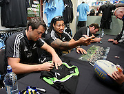 All Black's Ben Smith, left, Ma'a Nonu and Andrew Hore meet fans courtesy of Adidas prior to the Rugby Championship, Bledisloe Cup test match between New Zealand and Australia, Champions of the World store, Dunedin, New Zealand, Friday, October 18, 2013. Photo: Dianne Manson / photosport.co.nz