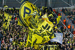03.03.2015, Stadion Dresden, Dresden, GER, DFB Pokal, SG Dynamo Dresden vs Borussia Dortmund, Achtelfinale, im Bild Stimmung im BVB-Block vor dem Spiel // SPO during German DFB Pokal last sixteen match between SG Dynamo Dresden and Borussia Dortmund at the Stadion Dresden in Dresden, Germany on 2015/03/03. EXPA Pictures &copy; 2015, PhotoCredit: EXPA/ Eibner-Pressefoto/ Hundt<br /> <br /> *****ATTENTION - OUT of GER*****