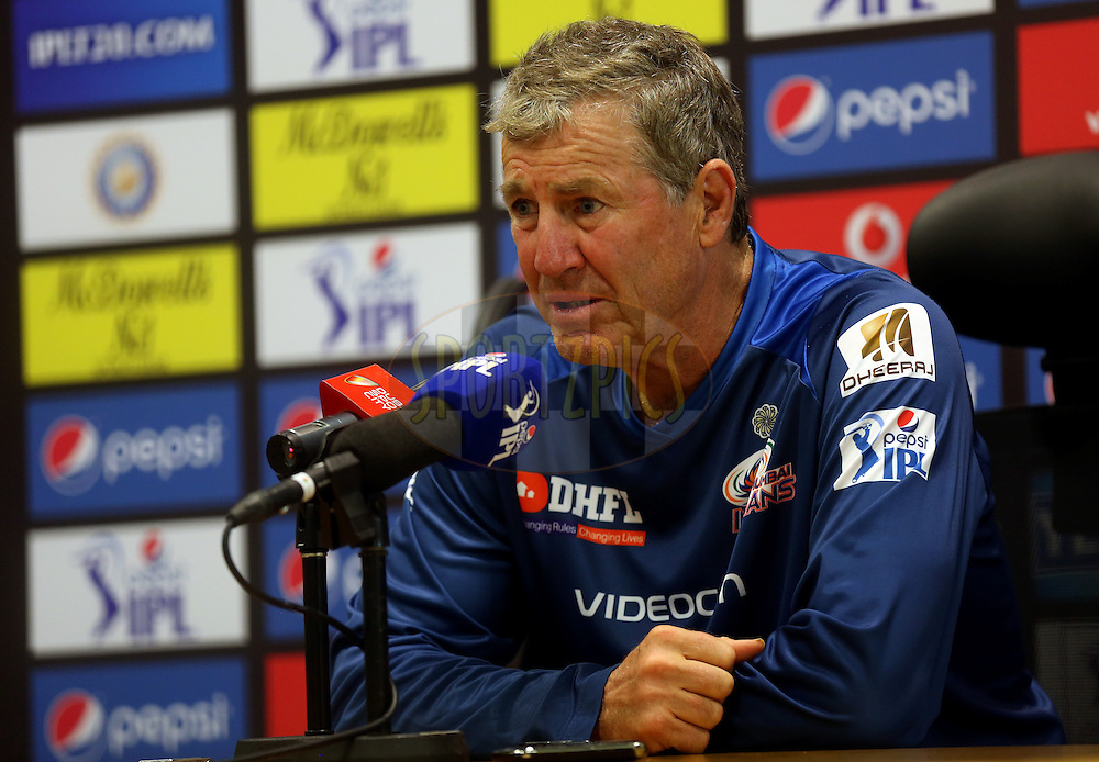 Jhon Wright coach of Mumbai Indians during match 20 of the Pepsi Indian Premier League Season 2014 between the Mumbai Indians and the Sunrisers Hyderabad held at the Dubai International Stadium, Dubai, United Arab Emirates on the 30th April 2014<br /> <br /> Photo by Sandeep Shetty / IPL / SPORTZPICS