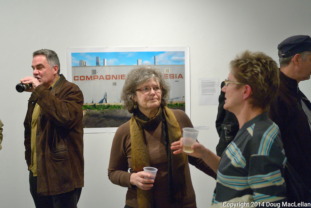"""Lively conversation was characteristic of the opening reception of """"Dignity of Work"""", a group show at Artcite Inc. and part of May works Windsor 2014."""