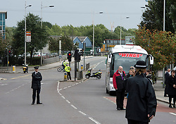 © London News Pictures. 19/09/2013. London, UK. POlice close off the roads at the scene where Mark Duggan was shot dead by armed police in an incident that sparked the 2011 London Riots. The family attended a visit by the Jury to the scene of the incident as part of an ongoing inquest into the death of Mark Duggan. Photo credit: Ben Cawthra/LNP