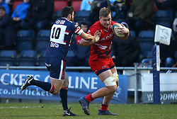 Joe Batley of Bristol Rugby takes on Declan Cusack of Doncaster Knights - Mandatory by-line: Robbie Stephenson/JMP - 13/01/2018 - RUGBY - Castle Park - Doncaster, England - Doncaster Knights v Bristol Rugby - B&I Cup