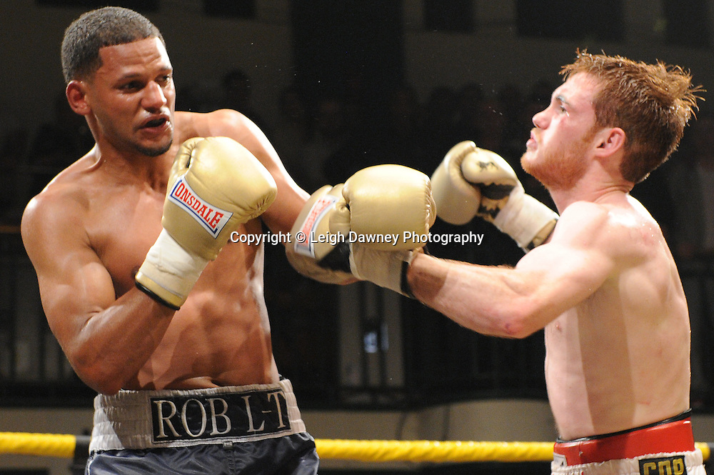 Robert Lloyd Taylor (charcoal shorts) defeats Nick Quigley claiming Prizefighter -  The Light Middleweights II. York Hall, Bethnal Green, London, UK. 15th September 2011. Photo credit: © Leigh Dawney.