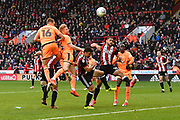 Reading FC defender Paul McShane (5) heads towards goal during the EFL Sky Bet Championship match between Sheffield Utd and Reading at Bramall Lane, Sheffield, England on 21 October 2017. Photo by Ian Lyall.