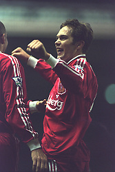 LIVERPOOL, ENGLAND - Saturday, January 6, 1996: Liverpool's Jason McAteer celebrates scoring the seventh goal against Rochdale during the FA Cup 3rd Round match at Anfield. (Photo by David Rawcliffe/Propaganda)