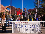 31 OCTOBER 2010 - WINDOW ROCK, AZ:   Terry Goddard speaks at the Democratic rally in Window Rock. Goddard, and the other Democrats on the statewide ticket, campaigned in Window Rock and Kingman on Halloween. Goddard ended the day with a press conference in front of the Executive Office Tower at the State Capitol in Phoenix. Goddard lost the election to sitting Governor Jan Brewer, a conservative Republican.     PHOTO BY JACK KURTZ