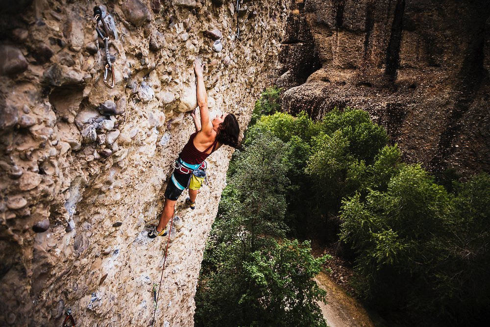 Esther Smith climbs Beaten into Submission, 5.12a, Maple Canyon, Utah.