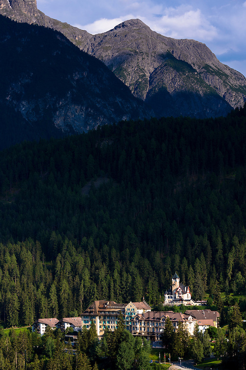 Vulpera Castle 11th Century and Hotel Schweizerhof from the Scuol Road in the Engadine Valley, Switzerland