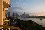 A view of modern skyscrapers on the Saigon River at sunrise from the Majestic Hotel, Ho Chi MInh City, Vietnam, Southeast Asia