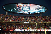 The scoreboard features the ESPN Monday Night Football logo during the Kansas City Chiefs NFL week 4 regular season football game against the New England Patriots on Monday, September 29, 2014 in Kansas City, Mo. The Chiefs won the game 41-14. ©Paul Anthony Spinelli