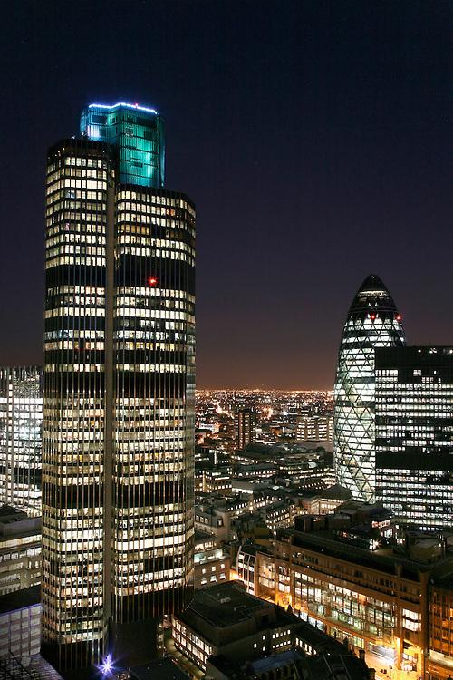 tower 42 london night city aerial