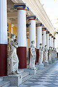Stone stone statues at Achilleion Palace, Museo Achilleio, in Corfu, Greece