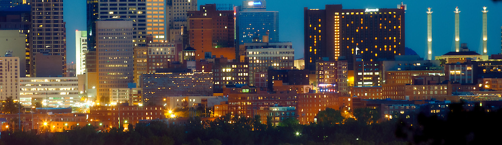 Panoramic, close up view of downtown Kansas City, Missouri skyline at dusk from Waterworks Park, Sunday, September 21, 2014.