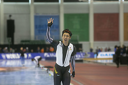 March 9, 2019 - Salt Lake City, Utah, USA - Tatsuya Shinhama of Japan waves after competing in the 500m speed skating finals at the ISU World Cup at the Olympic Oval in Salt Lake City, Utah. (Credit Image: © Natalie Behring/ZUMA Wire)